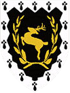 Shire Device: A Stag Salient within a laurel wreath